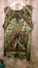 NWT LIME GREEN AND PURPLE & BROWN FLOWERS APT 9 SLEEVELESS SHIRT TUNIC SIZE XL