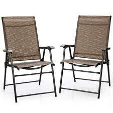 Brown Metal Folding Lawn Chair (Set of 2)