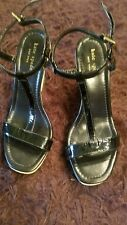 Kate Spade New York black patent ankle t strap leather wedge shoe size 7.5