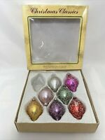 7 Commodore Christmas Classics Ornaments Hand Decorated Glass Romania Vintage