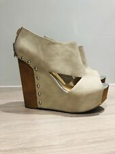 Chinese Laundry Jam Session Platform Wedges Cream Nude Size 7 40 Chunky Sandals