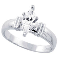 Women 925 Sterling Silver Rhodium Plated, Solitaire CZ Ring 5mm