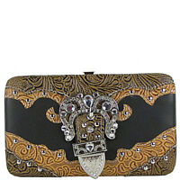 BLACK TOOLED RHINESTONE BUCKLE LOOK FLAT THICK WALLET COUNTRY WESTERN BLING NEW