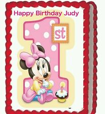 Minnie Mouse baby  Birthday Party Edible Image Cake Topper 1/4