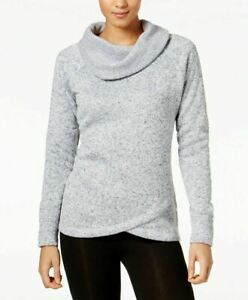 Ideology Cowl Neck Active Pullover Sweater Gray L NWT! $39.50