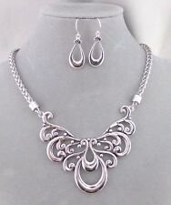 Silver Filigree Bib Style Necklace Earrings Set Fashion Jewelry NEW