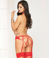 SEVEN 'TIL MIDNIGHT LACE HARNESS PANTY SET/ ONE SIZE RED