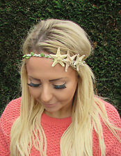 Real Starfish Headband Headpiece Mermaid Hair Crown Cream Leaf Boho Ariel 1988