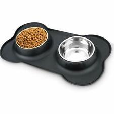Dog Bowls Stainless Steel Pet Bowls & Dog Food Water Bowls with No-Spill and ...