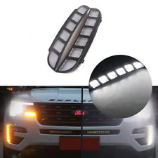 Front Bumper Daytime Running Light w/ Turn Signal Kit For 2016-17 Ford Explorer