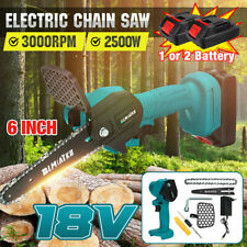 More details for 6in cordless electric chain saw cutter one-hand woodworking +2 battery&1 charger