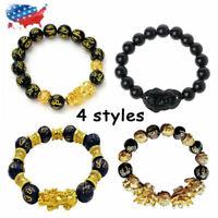 Feng Shui Black Obsidian Pi Xiu Wealth Bracelet Attract Wealth & Good Luck Gift
