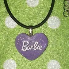 Purple Barbie Heart Necklace Inspired Jewellery, Funky Girls Gift, Aussie Seller