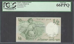 Israel 1/2 Lira 1958/5718 P29a Uncirculated Graded 66