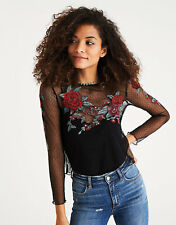 American Eagle Outfitters Women's L/S Embroidered Mesh Overlay Top M Black NWT