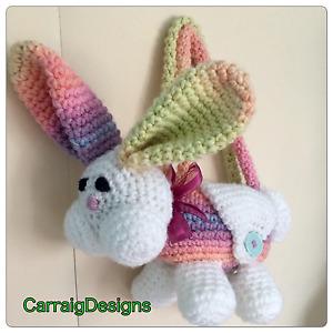 HANDMADE BAG Kids girl bunny rabbit animal purse knit crochet easter basket gift