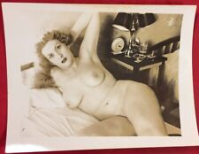 Vtg 1940's Amateur Busty Bosomy Girl In Bed Girlie Nude Risque Pinup photo look!