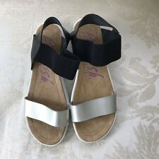 Blowfish Malibu Silver Black Vegan Ankle Strap Platforms Platform Sandals SZ 7.5