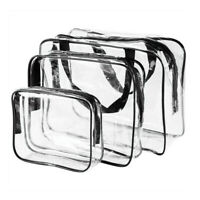 3Pcs Set Transparent Clear Cosmetic Makeup Toiletry Bag Travel Zipper Bag Pouch