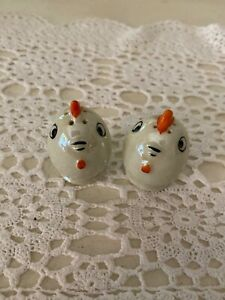 Tiny Chicken Egg Shaped Salt & Pepper Shakers, Made in Japan