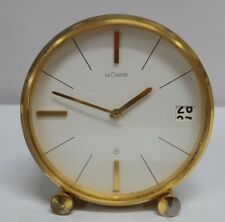 Vintage LeCoultre Clock 8 Day Date 425 Swiss Made Mid Century MCM Desk Clock