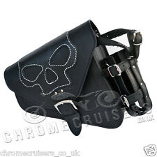 HARLEY DAVIDSON SPORTSTER  BLACK LEATHER LEFT SOLO SADDLE BAG PANNIER SKULL
