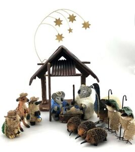 AUSTRALIAN NATIVITY SCENE Christmas Handmade Decoration Animal Wildlife Bristle
