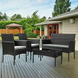 Rattan Garden Furniture 4 Piece Sofa Set Chairs Seat Table Outdoor Patio Black