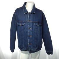 SONOMA Men's Heavy Faux Fur Lined Denim Jean Jacket Medium Wash Blue Size XL EUC