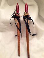 Primitive Textile Bobbins Yarn Spindles Thread Spools Candles Decorative Wooden