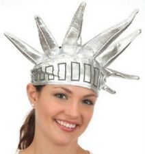 Statue Of Liberty Silver Lame Headpiece, Soft, Printed Silver Fabric Adjustable