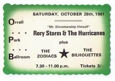 1961 RORY STORM AND THE HURRICANES CONCERT TICKET LIVERPOOL RINGO STARR BEATLES