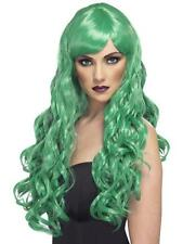 Parrucca Desire Verde Lunga Mossa con Frangia Donna Carnevale Nuovo