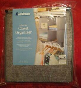 Whitmor 4 Section Closet Organizer Fabric Shelving/Cubbies Metal Garment Rod NEW