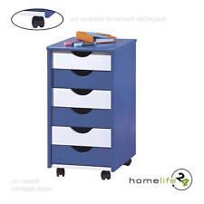 Caisson 6 tiroirs rangement bureau chambre enfant blanc bleu bois sur roulettes