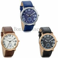 Classic Business Mens Roman Numerals Leather Analog Quartz With Date Wrist Watch
