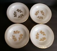 """Federal Glass Milk Glass Meadow Gold Wheat Soup Bowls 8"""" Gold Trim Set of 4"""