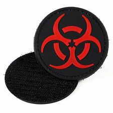 PVC Morale Patch Bio-hazard Red Black 3D Badge Hook #16 Paintball Airsoft