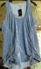 BNWT NEXT Drawstring Ruched Pull Up Tie CRUSH VELVET Feel IRIS BLUE Vest Top 14
