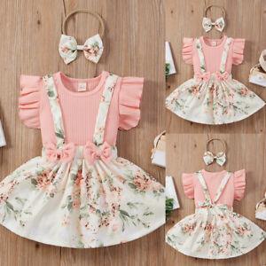 3Pcs Girls Floral Dress Set Baby Toddler Ruffled Tops Skirt Headband Outfits UK