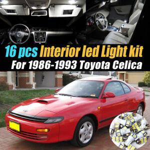 16Pc Super White Car Interior LED Light Bulb Kit for 1986-1993 Toyota Celica