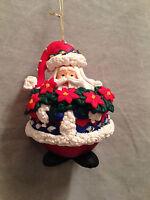 "SANTA CLAUS Collectible Glass  Ornament Resin Christmas Holiday Poinsettia 5 """