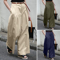 ZANZEA UK Womens Zip Up Wide Leg Chino Pants Casual Culottes High Waist Trousers