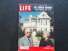 1955 SEPTEMBER 26 LIFE MAGAZINE - HARRY AND BESS TRUMAN - L 974