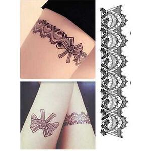 Temporary Waterproof Tattoo Sticker1pc Black Lace Leg Henna TattooDS IZZIT