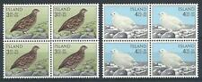 Iceland 1965 Sc# B19-20 set Rock Ptarmigan summer & winter bird blocks 4 MNH