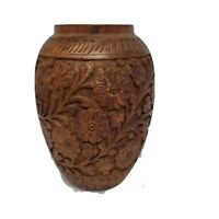 "Vintage Hand Carved Wooden Tropical Style Flower Vase 7""x5"""