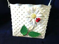 Garden Gate Metal Wall Pocket-White W. Daisy/Lady Bug-Handle-Nwot