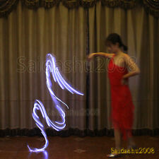 New! light up belly dance LED poi silk veil band real silk gymnastics recharge