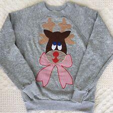 Vintage Womens 1980's Reindeer Christmas Sweatshirt Gray Size Small Comfortable